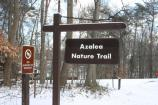 The Azalea trail sign in the snow