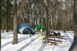 a tent in the Greenbelt Park in the Snow