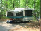a trailer in the Greenbelt park campground