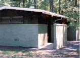 a picture of the outside of the restrooms in the Greenbelt Park campground