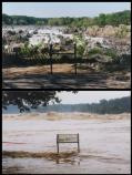 Before and after photos of the summer flood in 1996. The top photo is the river at normal water level.