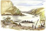 Artist's rendering of the Potomac ferry at Harpers Ferry, looking downstream from The Point at the confluence of the Potomac and Shenandoah rivers. Maryland Heights looms above the far (left) shoreline. The ferry connected Harpers Ferry with the wagon road to Frederick, Maryland, which terminated at the foot of Maryland Heights. Artist: Carol Stuart Watson Credit: Harpers Ferry Center Commissioned Art Collection (IMS 02846) Year: The Potomac Ferry operated from 1747-1824