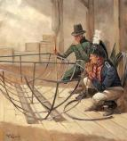 Artist's rendering of Armory superintendent Joseph Perkins (left) and Captain Meriwether Lewis inspecting the assembled iron boat frame at Harpers Ferry. The strange craft was comprised of an iron frame which came apart in sections, over which was stretched a covering of hide. Lewis expected that a light, substitute boat of some kind would be needed when the Missouri River got too shallow for the heavy wooden boats to navigate. The Armory mechanics assigned to the project, however, had considerable difficulty assembling the iron frame, and Lewis was forced to prolong his Harpers Ferry stay from the week he had planned to over a month. Artist: Keith Rocco/Tradition Studios Year: November 2002