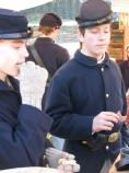 Hungry young soldiers find snacks at the Soldiers' Rest. Scenes from Capt. Flagg's US Quartermaster City: Approach of Peace 1864 Event, Dec. 3-4, 2011. NPS Photo