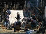 Soldiers in camp. Scenes from Capt. Flagg's US Quartermaster City: Approach of Peace 1864 Event, Dec. 3-4, 2011. NPS Photo