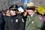 NPS Director Jon Jarvis chats with a U.S. Park Police officer at the Martin Luther King, Jr. Memorial.