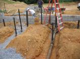 Masonry block foundation wall under construction at the Monocacy National Battlefield visitor center. (June 16, 2006)
