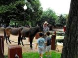 A Ranger in period-costume introduces two young boys to the mules who will help pull the canal boat down the canal