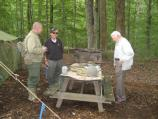 WWII Reenactor talks to OSS Veterans Art Reinhardt and Walter Mess
