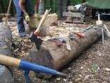 Hand Hewn Log Making