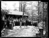The young men of Camp Lichtman gather in front of the camp administration building. Photo courtesy: Scurlock Studios, Archives Center, National Museum of American History, Smithsonian Institution
