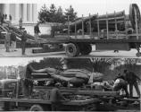 The bronze statue of Jefferson, created by Rudolph Evans, is delivered to the Memorial by truck in April, 1947.