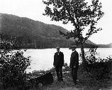 George B. Dorr and Charles W. Eliot on the shore of Jordan Pond.