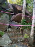 Large rocks moved by the earthquake cover the stone steps of the Homans Path up Dorr Mountain.