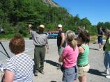 A ranger educates visitors about Peregrine Falcons.