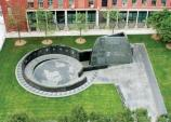 This aerial photo shows the outdoor memorial at African Burial Ground NM in its entirety.