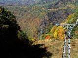 The aerial tram at Pipestem Resort State Park with fall colors
