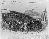Drawing showing arrival of immigrants at Castle Garden in 1866.