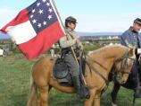 Cavalryman with Confederate 1st National Flag