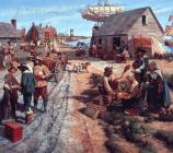 A scene of a busy street in Jamestown, circa 1650 (Keith Rocco, artist).