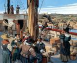 From Fort to City - Jamestown in 1621 (Keith Rocco, artist).