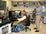Carl Haber, Senior Scientist and Earl Cornell, Computer Systems Engineer working with the record at the Lawrence Berkeley National Laboratory.