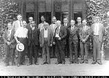 Edison Employees: from left, Messrs. Whelan, Weinert, Gramann, Miller, Johnston, T.A. Edison Jr., F. Ott, Walker, Dally, Laing, Hart, Tunsted, Payne and unknown man; West Orange; July 16, 1931. 10.120/32