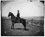 Brigadier General Marsena Patrick on horseback. Patrick commanded the Provost Guard of the Army of the Potomac. Patrick was a strict officer of the old army.