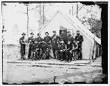 General George Stoneman and staff. Stoneman commanded the Union 3rd Corps at the Battle of Fredericksburg. At the Battle of Chancellorsville Stoneman commanded the newly formed Union Cavalry Corps.