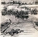 Sketch of Union soldiers crossing the Rappahannock River in pontoon boats under fire. In the foreground a dead Union soldier lays on the partially completed pontoon bridge.