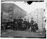 Clerks posing for a picture near the Military Rail Road at Aquia Landing.