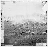 Camp of the 150th Pennsylvania Infantry near Belle Plain. The 150th is also known as the Third Bucktail Regiment.