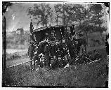 General Robert O. Tyler and staff. Tyler is in the large stove pipe hat. Tyler commanded the Army of the Potomac's Artillery Reserve, until mid 1864. tyler then commanded many of the heavy artillerymen, who served as infantry in the Overland Campaign.