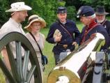 Visitors mingling cannon crew at Chatham