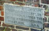 This small plaque is on the brick wall that surrounds Fredericksburg Presbyterian Church.