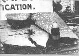 Damage created on a steel plate by a 12 inch artillery shell.