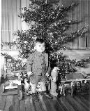 Officer's son stands in front of Christmas tree surrounded by gifts, c.1944