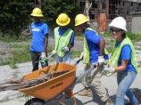 SCA crew cleaning debris from Floyd Bennett Field