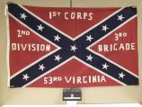 Flag representing the 53rd Virginia Infantry, carried in the commemoration of Pickett's Charge at Gettysburg in July 1963.