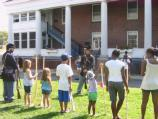 Ranger Kevin leads the Friday Kids Program on Military Life on Governors Island.