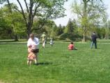 Younger children participate in an old fashioned egg hunt on the north lawn.