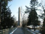 A view of the tercentennial monument from the footbridge.