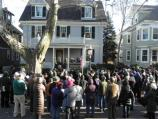 Visitors gather in front of John F. Kenendy's birthplace
