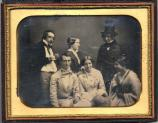 A daguerreotype from 1852 showing Henry W. Longfellow and his wife Fanny with friends in Newport, RI. From left to right are: Thomas Gold Appleton, John G. Cosler, Julia Ward Howe, Fanny Longfellow, Henry W. Longfellow, and Horatia L. Freeman.