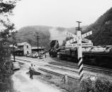 historic photo of RR depot and steam engines
