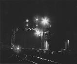 railroad tracks at night