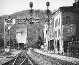black and white photo of buildings and RR track at Thurmond