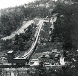 black and white photo of coal tipple, conveyor, and coal town
