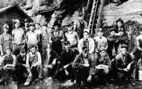 black and white photo of coal miners