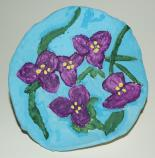 student artwork, plaster of paris painting of spiderwort